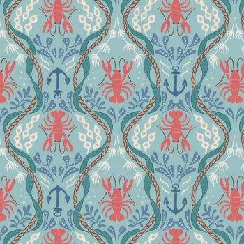 Lobster and Anchor on Aqua Fisherman Seaweed Rope Nautical Harbour Side Cotton Fabric