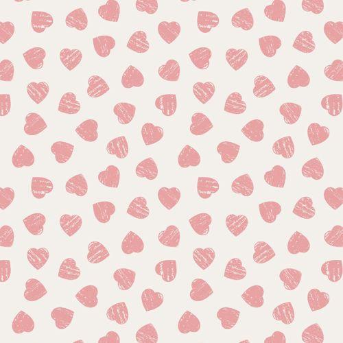 Love Hearts Pink on Cream Dove House Valentine Heart Romance Cotton Fabric