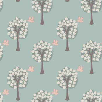 REMNANT Love Tree on Duck Egg Bird Heart Dove House Cotton Fabric
