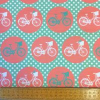 REMNANT Bicycle Cycling Bike Whimsical Wheels Mint Coral Spot Cotton Fabric