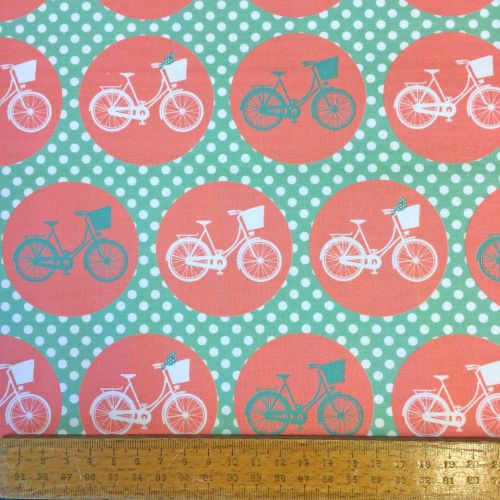 REMNANT Bicycle Cycling Bike Whimsical Wheels Mint Coral Cotton Fabric