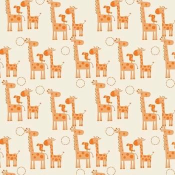 Giraffes Toucan Orange Giraffe Crossing Safari Cotton Fabric