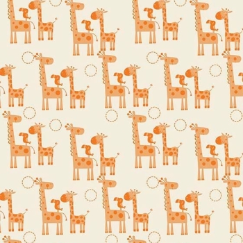 Giraffes Toucan Orange Giraffe Crossing Safari Cotton Fabric