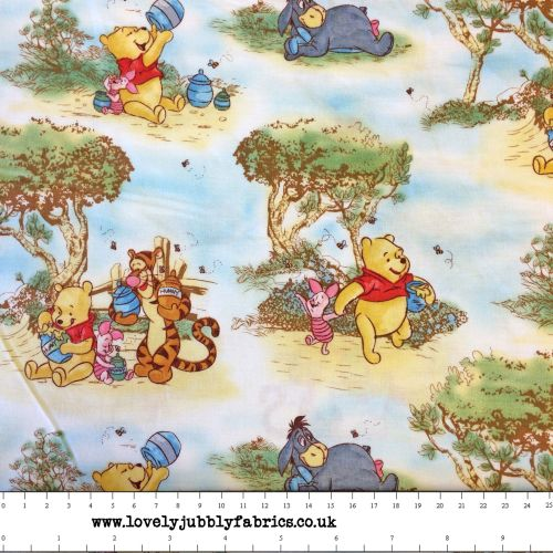 Disney Winnie The Pooh And Friends Nursery Scenic Cotton Fabric