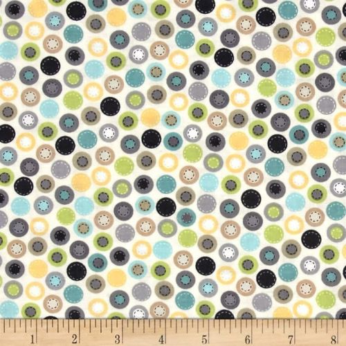 All Aboard Round and Round Cream Spots Cotton Fabric