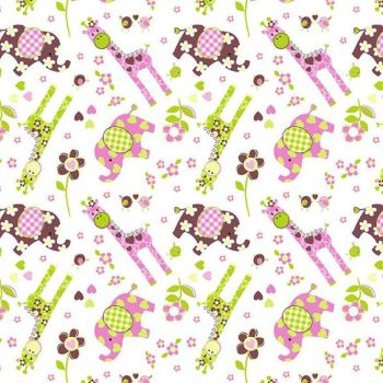 Giraffe Elephant Daisy Animal Nursery Baby Children's Cotton Fabric