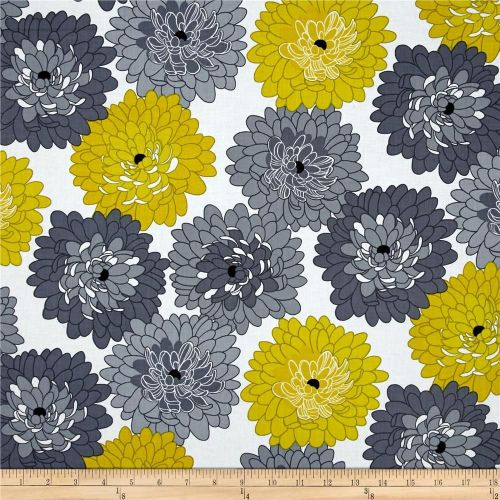 Little Blooms Floral Flower Chrysanthemum Gray Citrine Cotton Fabric