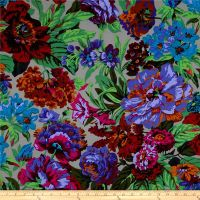 Kaffe Fassett Voluptuous Floral Flowers Grey Philip Jacobs Cotton Fabric