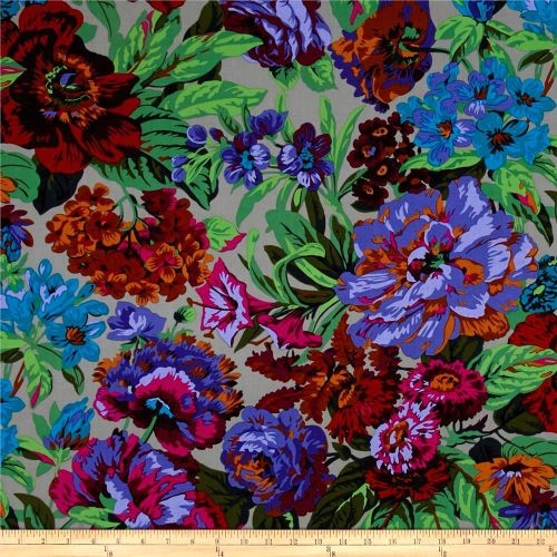 Kaffe Fassett Voluptuous Floral Flowers Grey Philip Jacobs Cotton Fabric