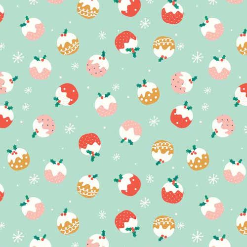 Festive Friends Christmas Puddings Xmas Winter Cotton Fabric
