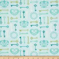 Key To My Heart Keys Aqua Lime Lovehearts Scroll Cotton Fabric
