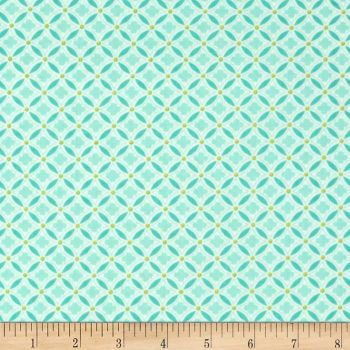 Geo Diamonds Teal Geometric Aqua Lime Cotton Fabric