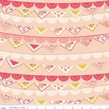 Bunting Vintage Daydream Banner on Pink Shabby Chic Cotton Fabric