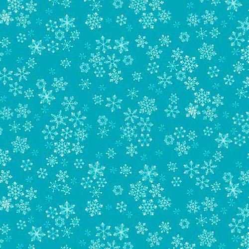 Frosty Snowflakes Christmas Holiday Winter Snow Turquoise Aqua Cotton Fabri