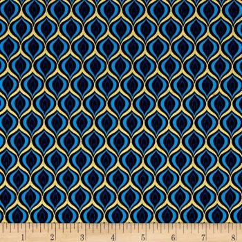 Peacock Feather Golden Eye Sky Blue Black with Metallic Gold Cotton Fabric