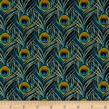 Peacock Feather Plumes Teal Black with Metallic Gold Cotton Fabric