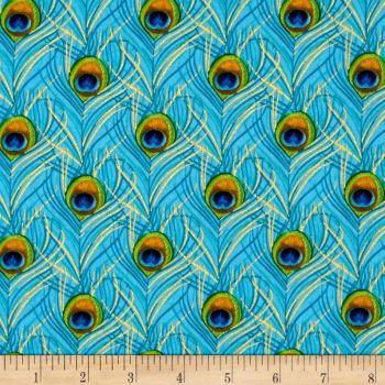 Peacock Feather Plumes Light Blue with Metallic Gold Cotton Fabric