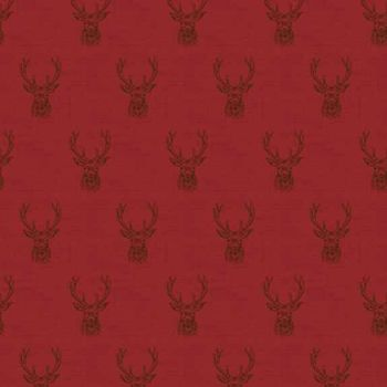 REMNANT Stag Red Stags Deer Balmoral Christmas Holiday Winter Festive Cotton Fabric