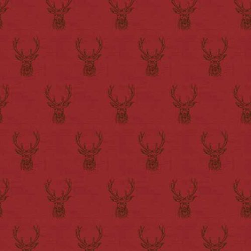 Stag Red Stags Deer Balmoral Christmas Holiday Winter Festive Cotton Fabric