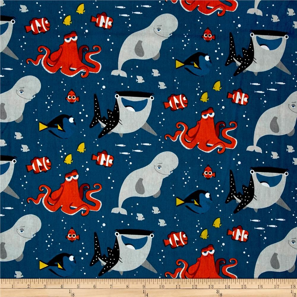 Disney Finding Dory and Friends Nemo Marlin Fish Cotton Fabric