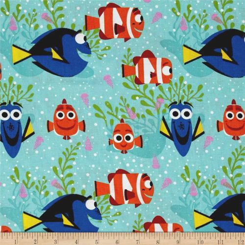 Disney Finding Dory All Smiles Nemo Marlin Fish Cotton Fabric