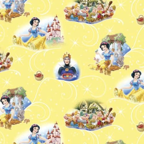 Disney Princess Snow White and the Seven 7 Dwarves Scenic Cotton Fabric