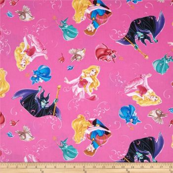 Disney Princess Sleeping Beauty Aurora Character Film Toss Fuschia Cotton Fabric
