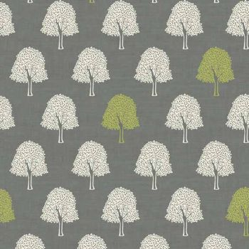 Forest Trees Woodland Tree Silhouette Lime Green Grey from Heartwood Cotton Fabric
