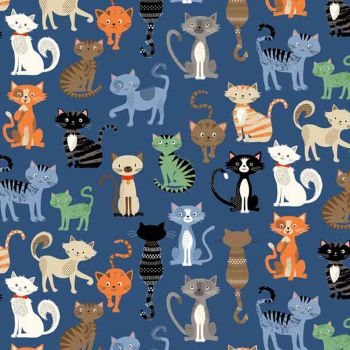 Crafty Cats Crowd Scatter Cat Blue Cotton Fabric