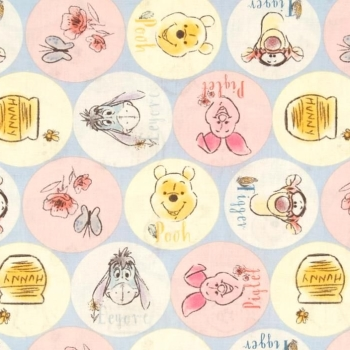 Disney Winnie the Pooh Everyday Friends Tigger Piglet Eeyore Names Cotton Fabric