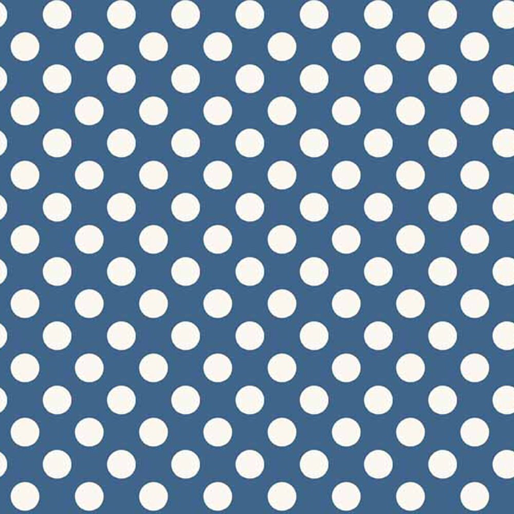 Spot Blue White Polkadot on Blue Spotty Dotty Cotton Fabric