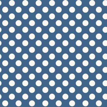 Spot Blue White Polkadot on Blue Spotty Dotty Cotton Fabric