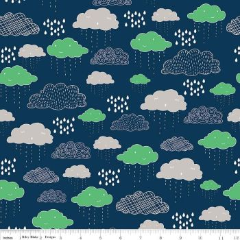 Rain Clouds Raindrop Navy Greatest Adventure Cotton Fabric
