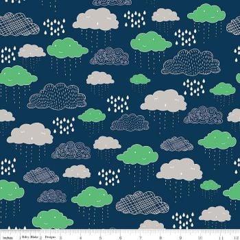 Rain Clouds Raindrop Navy Greatest Adventure Cotton Fabric