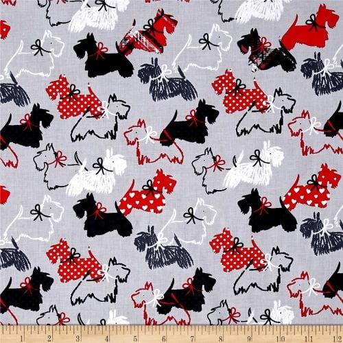 Scottie Love Scotty Dottie Dogs Grey Red Black White Gray Dog Cotton Fabric
