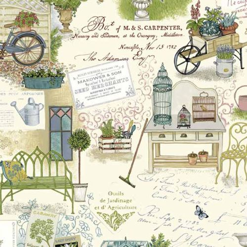 Antique Garden Scenic Gardener's Botanical Gardening Cotton Fabric