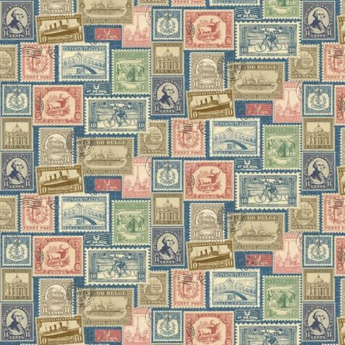 REMNANT Vintage Travel Postage Stamps Cotton Fabric