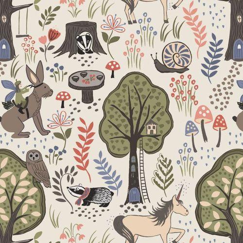Enchanted Forest on Cream Unicorn Badger Hare Woodland Cotton Fabric