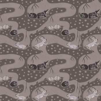 Enchanted Forest Bunny Tunnels Badger Rabbit Woodland Earth Cotton Fabric