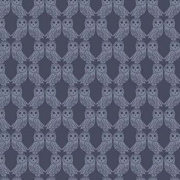 Enchanted Forest Owls on Midnight Blue Owl Cotton Fabric