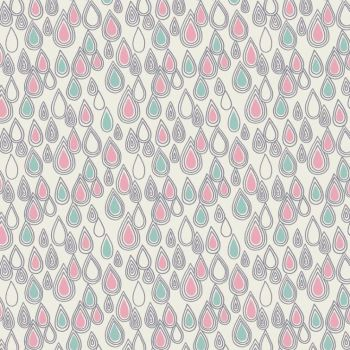 April Showers Raindrops Rain Drop Pink Green White Cotton Fabric