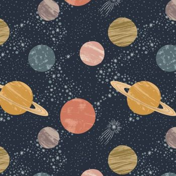 To The Moon and Back Planets on Midnight Space Solar System Cotton Fabric