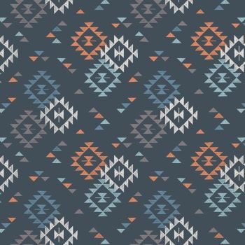To Catch a Dream Geometric Triangle on Nighttime Blue Native American Navajo Cotton Fabric