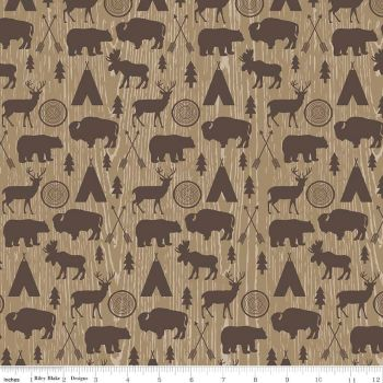 High Adventure Tan Bear Buffalo Moose Stag Wood Grain Animal Woodland Cotton Fabric