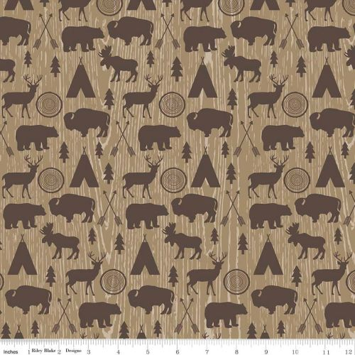 High Adventure Tan Bear Buffalo Moose Stag Wood Grain Animal Woodland Cotto