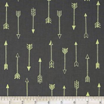Arrows on Coin Grey Arrow Flight Metallic Gold Charcoal Gray Cotton Fabric