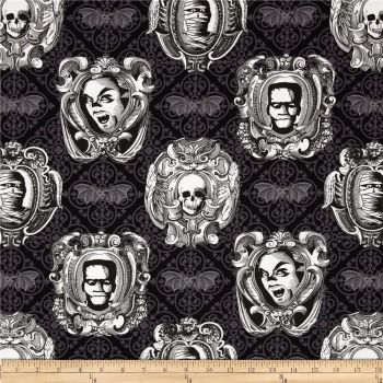 Halloween Skull Spooky Freak Out Bat Haunted Gallery Frankenstein Mummy Vampire Horror Film Movie Cotton Fabric