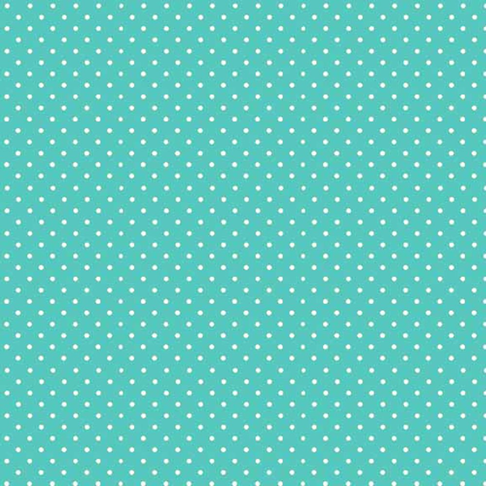 Spot On Aqua White Polkadot on Aqua Cotton Fabric by Makower