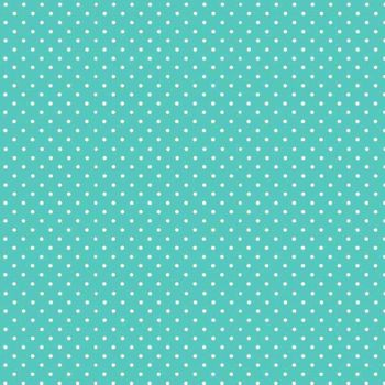 Spot On Aqua White Polkadot on Aqua Turquoise Cotton Fabric by Makower