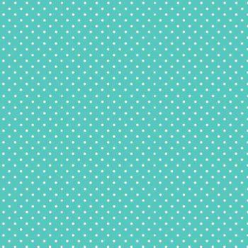 Spot On Aqua White Polkadot on Aqua Turquoise Cotton Fabric by Makower